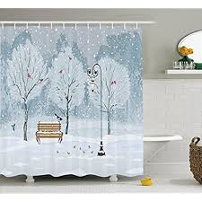 Curtains Birds Theme Winter Shower Curtains