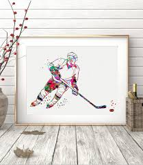 ice hockey player sports watercolor poster art prints wall decor