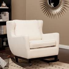 White Glider Rocker White Fabric Cushioned Rocking Chair Which Furnished With Black