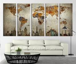 Wall Art World Map by Canvas Art Print Wonders Of The World On Retro World Map Large