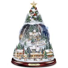 thomas kinkade lighted christmas tree snowglobe village scenes