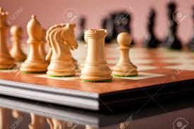 traditional staunton chess pieces white knight and rook in focus