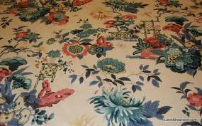 Vintage Floral Upholstery Fabric Z139 Vintage Schumacher Empress Of China Kenji Garden Classic