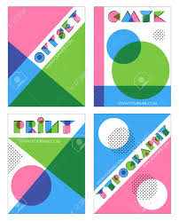a set of retro overprint multilayered anaglyph effect designs