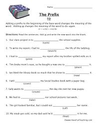 prefix re worksheet