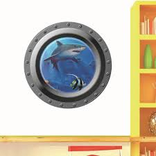3d submarine wall stickers for bathrooms washing machine