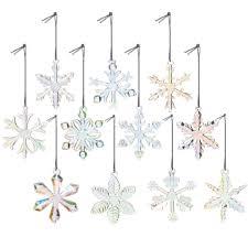 snowflake ornaments 11 2 glass iridescent snowflake ornaments decor