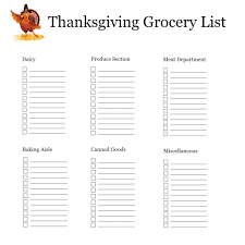 thanksgiving shopping list organizer free printable