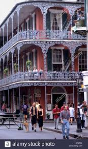 new orleans bourbon street balcony house people stock photo