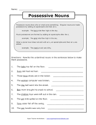 bunch ideas of possessive nouns worksheets 3rd grade with sample