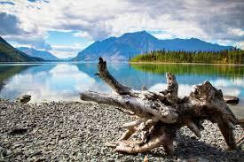 Teh Yakon lake in kluane national park and reserve in the yukon