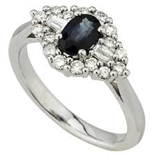 3 4ct pave halo blue 18ct white gold sapphire and diamond ring fields ie