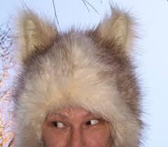 wolf rug spirit halloween furry wolf hat white cream tan fur coyote husky dog ears