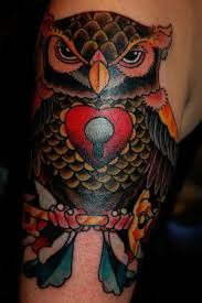 traditional style owl tattoo by james dean tattoonow