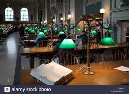 boston library table lamp mckim reading room stock photo royalty