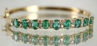 emerald diamond gold bracelet images 14kt gold 9 emerald diamond bangle bracelet 17 2 gm 54 4 ctw jpg