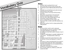 free personal finance consumer math vocabulary crossword plus a