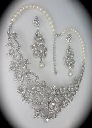 pearl necklace wedding set images Bridal jewelry set rhinestone and pearl necklace and earrings jpg