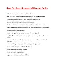 Sample Java Resumes by Java Applications Developer Responsibilities And Duties