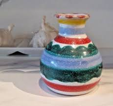 Hand Painted Vase Vintage Desimone Pottery Small Hand Painted Vase 4 Italy 27