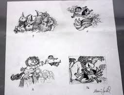 maurice sendak original pencil study art 1998