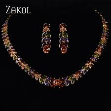 gold zirconia necklace images Zakol gold color my mona lisa marquise stone multicolor color jpg