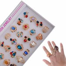 crystal stone rings images 5pcs mixed design gems crystal stone rings gold color flower jpg