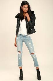 Light Wash Ripped Skinny Jeans Cool Light Wash Jeans Distressed Jeans Skinny Jeans 49 00