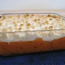 canned yams are glazed with butter and brown sugar topped with