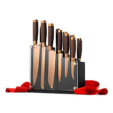 coloured kitchen knives set forte 13 cutlery block set in gold color with magnetic