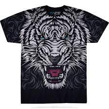 wildlife white tiger stare black t shirt liquid blue