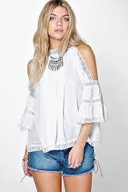 open shoulder blouse crochet trim high neck open shoulder blouse boohoo