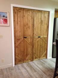 Closet Door Styles Bifold Door Made Into Barn Door Style Cut To Size Place Right