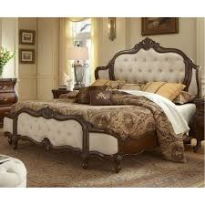 Michael Amini Bedroom by 3 007 00 Lavelle Melange Wing Mansion Bed With Fabric Inserts By