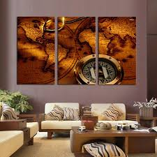 decor painting 3 panels hot sell the abstract map modern home wall decor painting