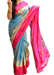 sky blue with three color combination border ikat saree and blouse
