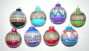 brightly painted etchware navajo pottery ornaments