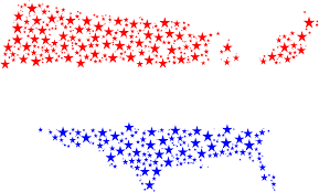 Red States Blue States Map by Clipart United States Map Flag Stars