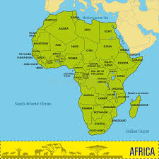 africa map all countries map of africa with all countries and their capitals stock vector