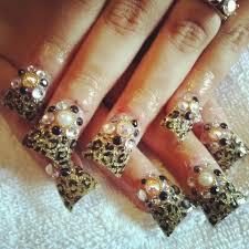 cheetah u0026 gold duckfeet nails cali my nails my work nails by