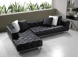 Tufted Leather Sofa Bed Black Button Tufted Leather Modern Sectional Sofa W Steel Legs