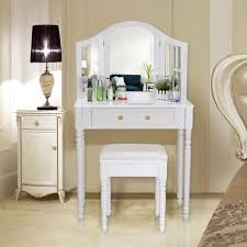coiffeuse chambre adulte songmics coiffeuse meuble blanc table de maquillage commode avec 3
