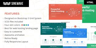 sinewave one page hosting landing page html template by ajay138