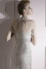 sparkling silver wedding dress with jeweled neckline 80959