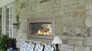 Sided Outdoor Fireplace - two sided gas fireplace indoor outdoor see through indoor outdoor