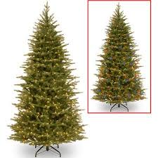 slim christmas tree with led colored lights national tree pre lit 7 1 2 feel real nordic spruce slim hinged
