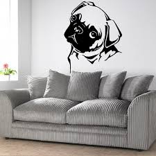 pug home decor removable waterproof pet pug dog vinyl wall art sticker animal