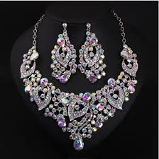 crystal bridal necklace sets images Expensive luxuyry colorful bridal jewelry with crystal beads 2016 jpg