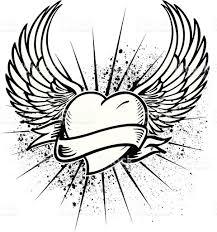 winged heart tattoo design stock vector art 165556488 istock
