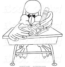 Picture Of Student Sitting At Desk by Vector Clip Art Of A Coloring Page Of A Bald Eagle Hawk Or Falcon